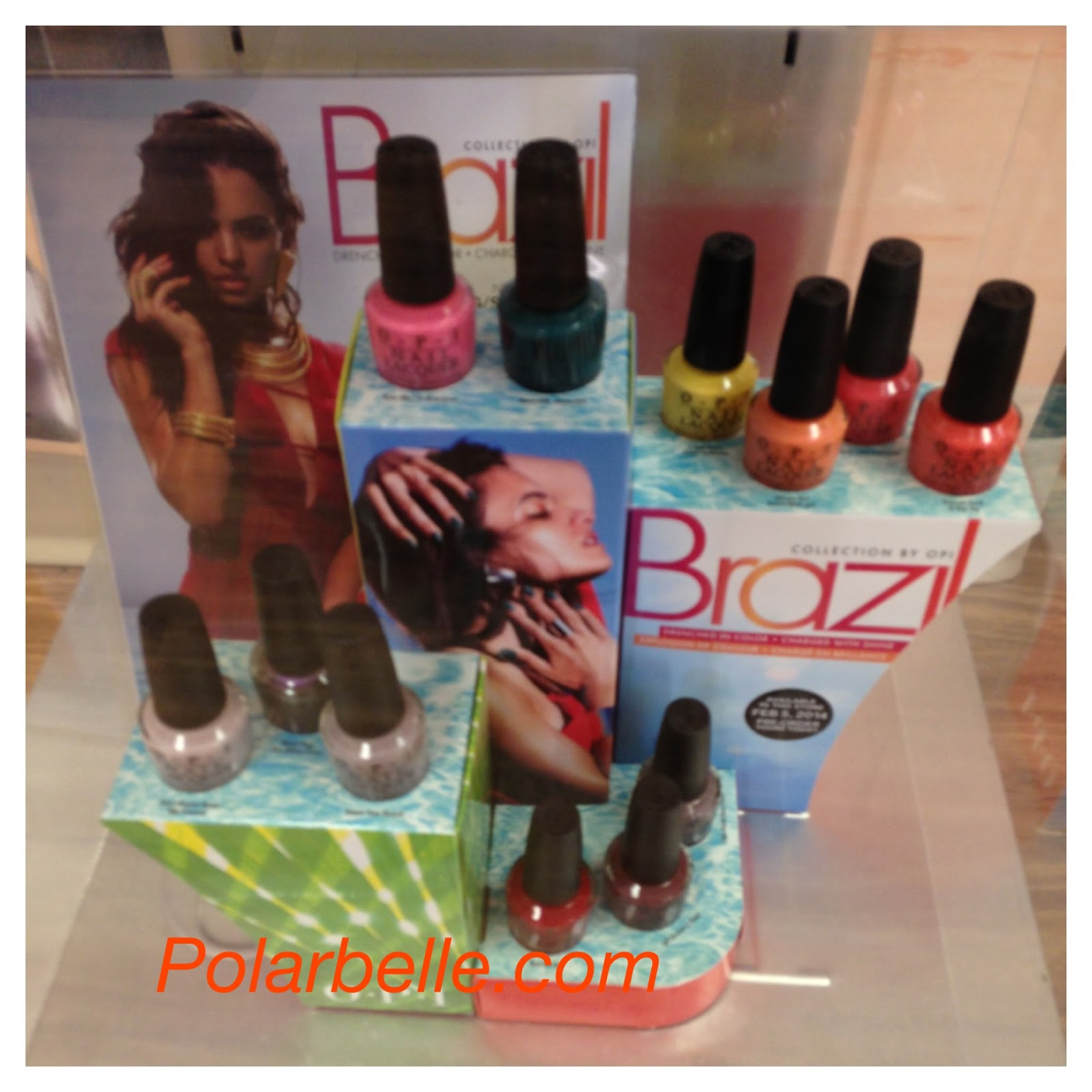 OPI Brazil nail polish collection display, swatches, Spring 2014