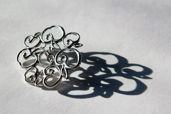 Jak Joten brooches via Tres Jewellery, brooches, Tres Jewellery brooches, Jak Joten, Tres Jewellery, Tres Jewelry, Jak Joten via Tres Jewellery, Jak Joten via Tres Jewelry, hand-crafted silver jewellery, hand-crafted silver jewelry, apple earrings, Jak Joten earrings via Tres Jewellery, Tres Jewellery earrings