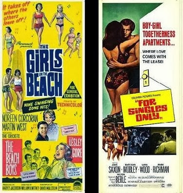 THE GIRL ON THE BEACH (1965)     and      FOR SINGLES ONLY (1968)