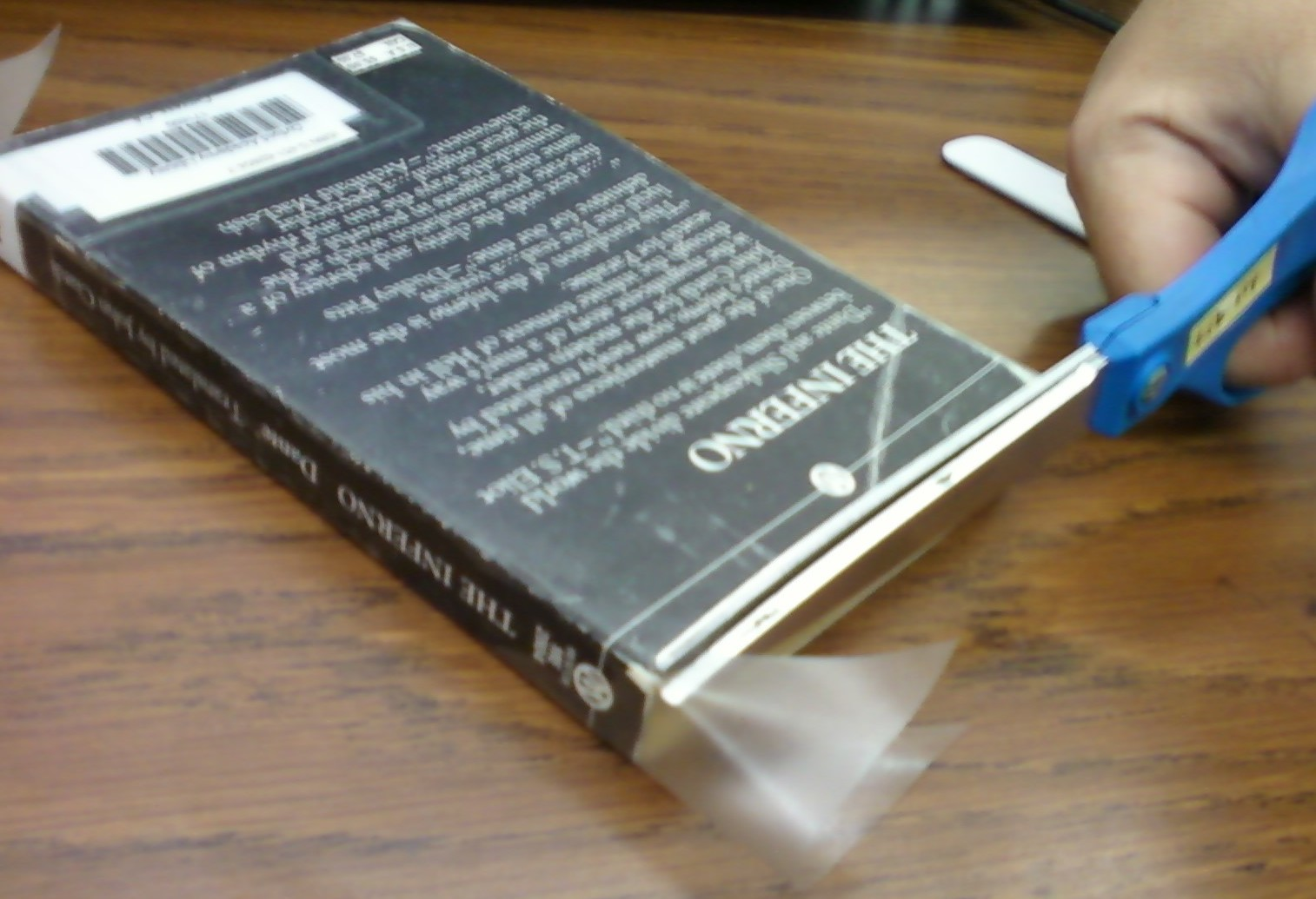 Book Covering Contact : Smells like library book processing covering paperbacks
