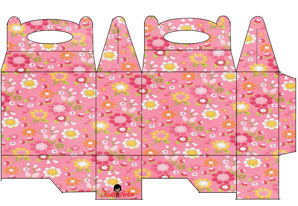 Flores: Caja para Lunch, para Imprimir Gratis.