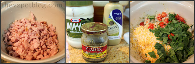 turkey, basil pesto, dijon mustard,mayo, spinach, tomato