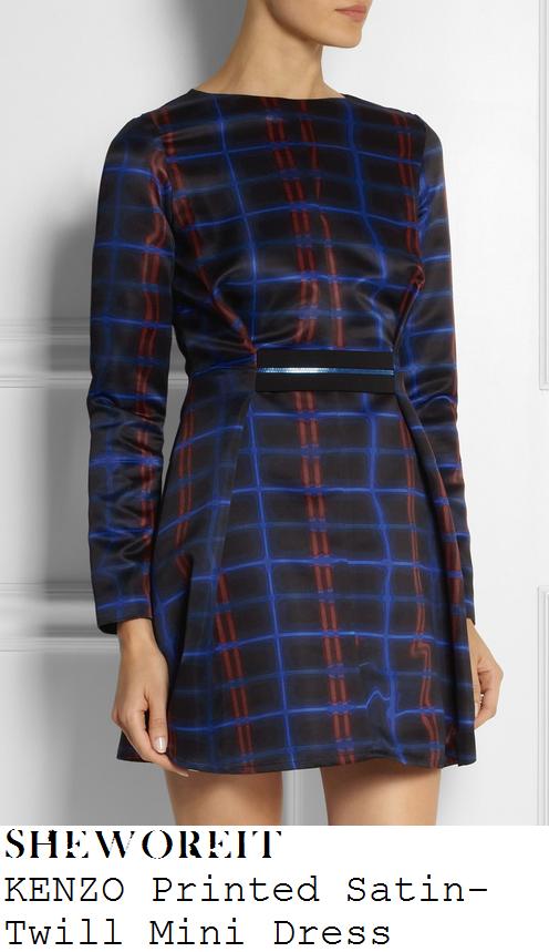 lucy-mecklenburgh-black-blue-dark-red-line-tartan-print-long-sleeve-zip-waist-mini-dress