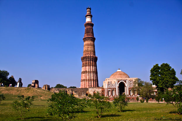 Sandstone Tower of Qutb Minar and its Monuments Delhi India
