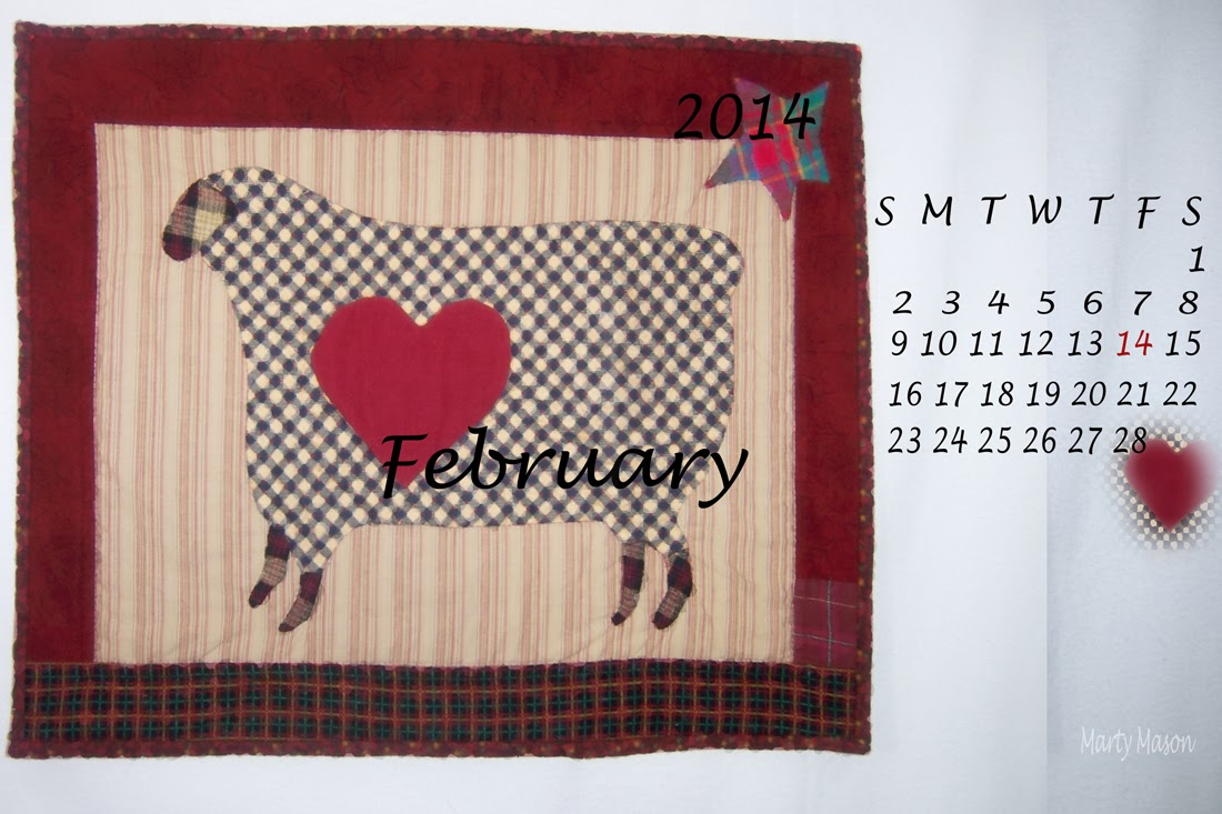 A February, 2014 Quilter's Calendar by Marty Mason