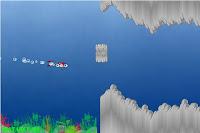 Mergulhador a nadar nas cavernas do oceano