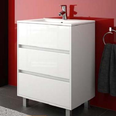 Mueble de baño 3 cajones arenys de salgar nacional blanco brillo con patas gris mate