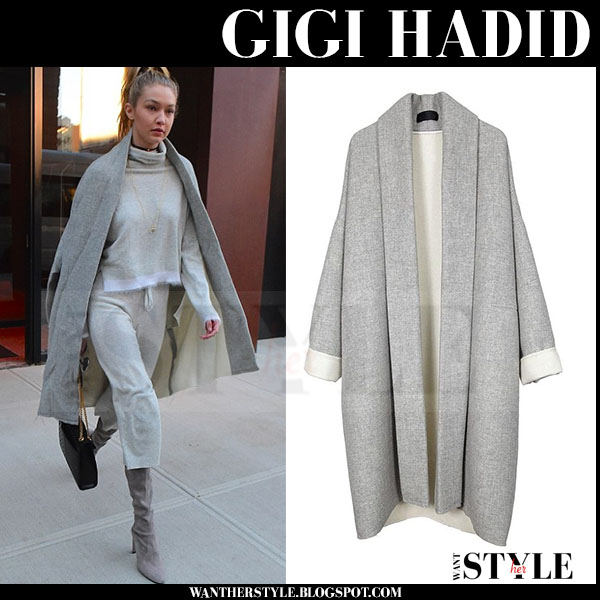 Gigi Hadid in grey kimono coat nili lotan what she wore streetstyle