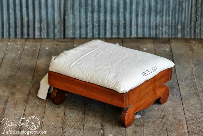 Grain Sack Feed Bag Furniture Footstool via knickoftimeinteriors.blogspot.com
