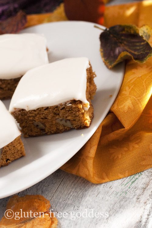 ... brings us many pleasures- and pumpkin bars are at the top of my list