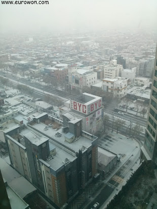 Vista de Daegu nevado