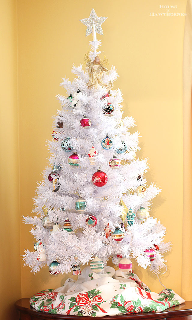 White Christmas tree with vintage Shiny Brite ornaments.