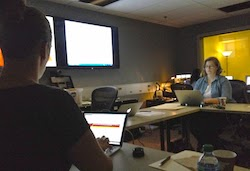 Photo of Tricia C and Carrie M in the Usability Lab