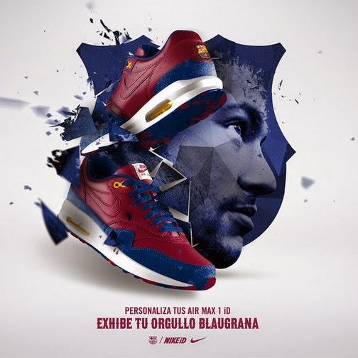 Zapatillas Nike Air Max 1 con el escudo del FC Barcelona