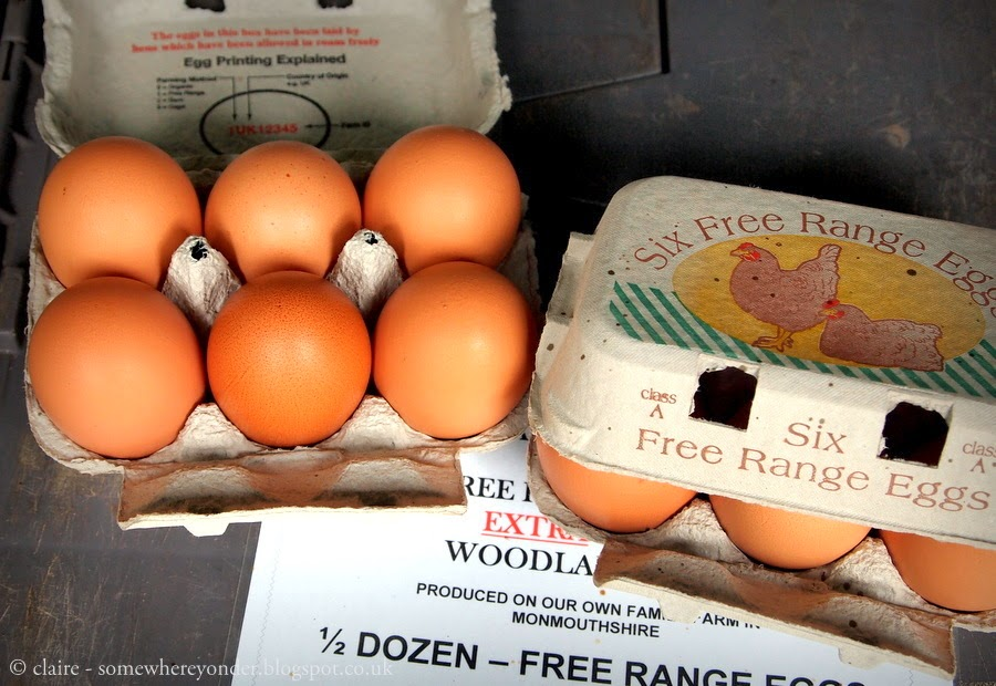 Free range double yolk eggs - Marylebone farmers market, London