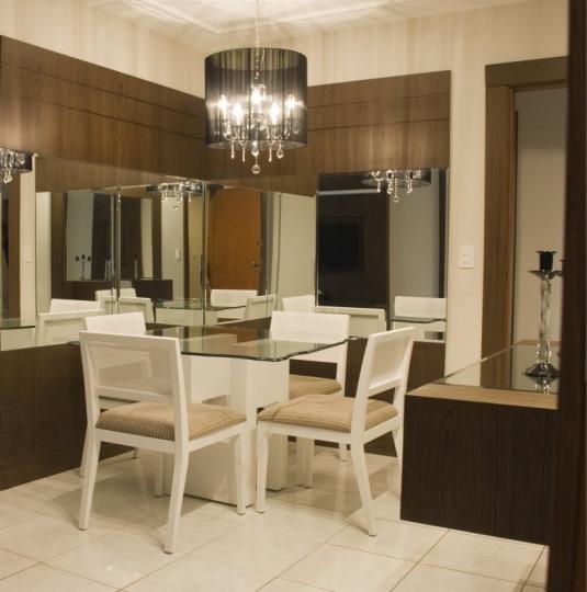 Painel De Tv Na Sala De Jantar ~ Construindo Minha Casa Clean Salas de Jantar Pequenas  Mesa