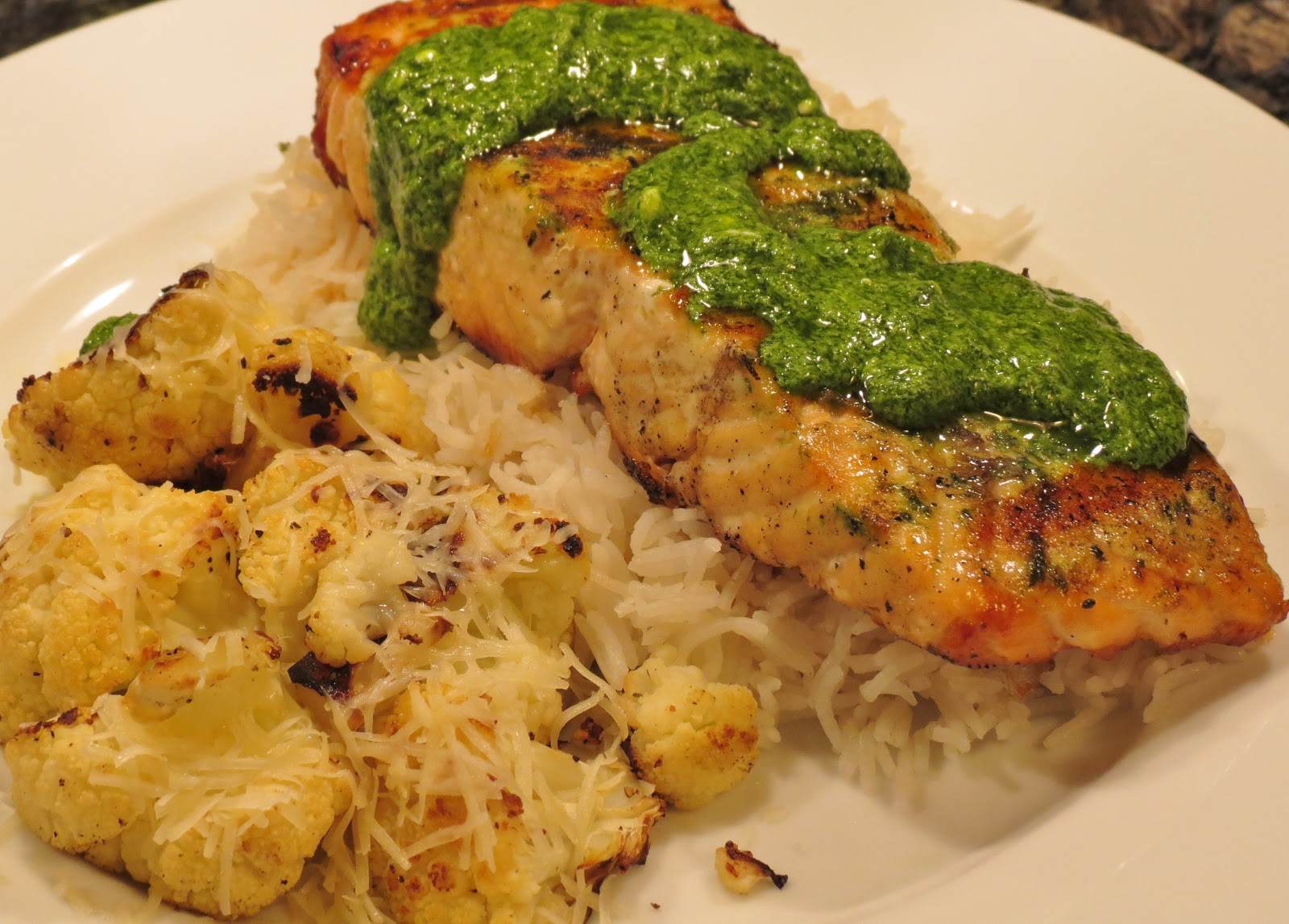 Dinner with the Welches: Chimichurri Salmon with Roasted ...