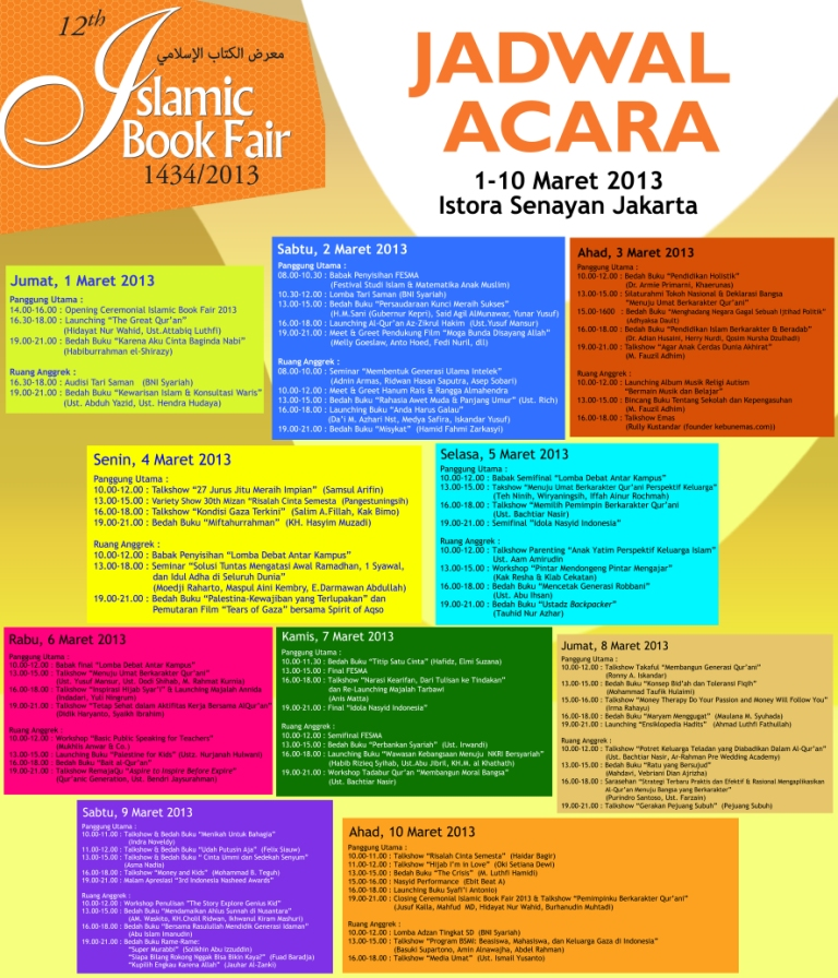 Jadwal Islamic Book Fair 2013