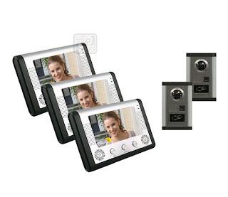 SY-801+D9ID 2/3- комплект видео домофона с RFID (2 монитора, 3 камеры)