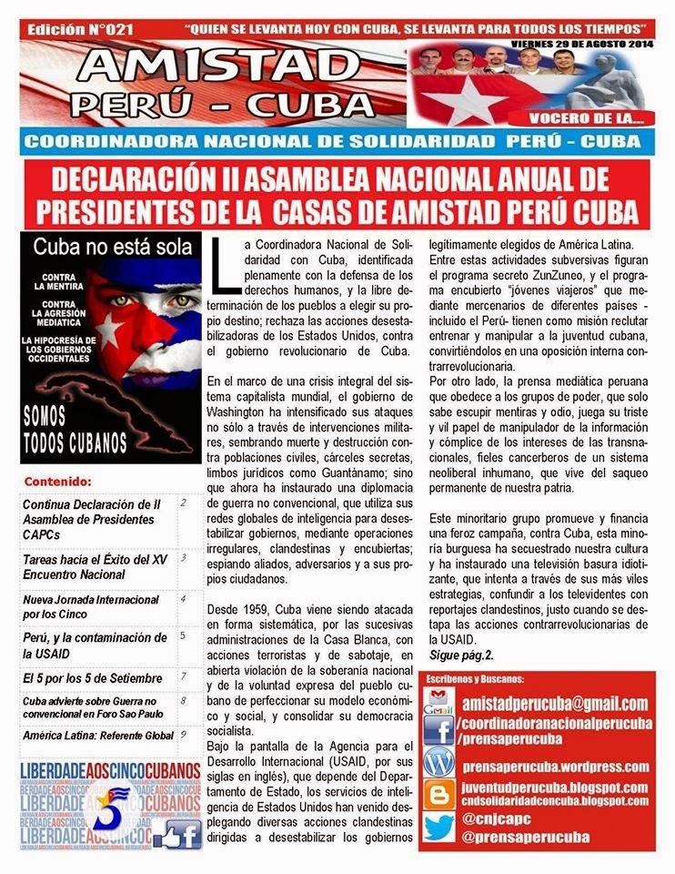 """BOLETÍN Nª021 """"AMISTAD PERÚ CUBA"""""""
