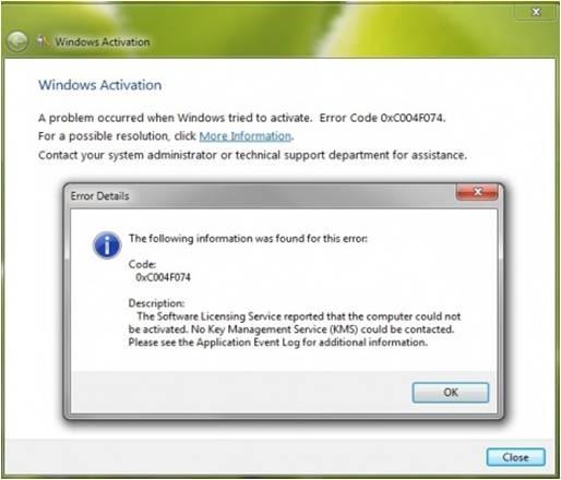 windows 7 pro activation error 0xc004f074