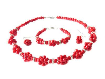 Ekokoral, biżuteria  góralska, koral. naszyjnik z korala korale czerwone koral czerwony