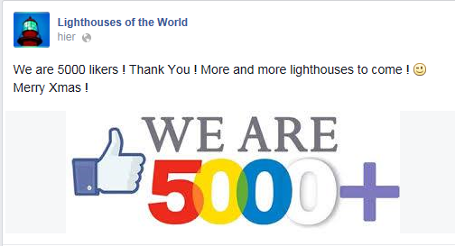 "9000 likers on my page ""Lighthouses of the World"" on facebook"