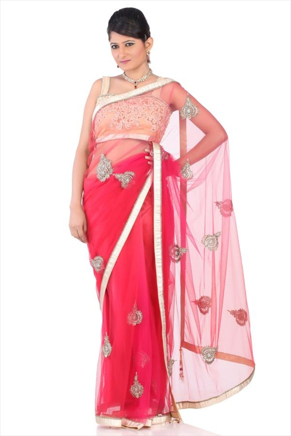 Raspberry Pink Net Saree