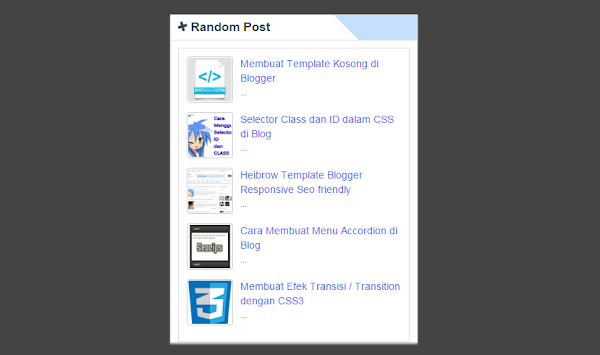 Memasang Widget Random Post Bergerak For Blogspot