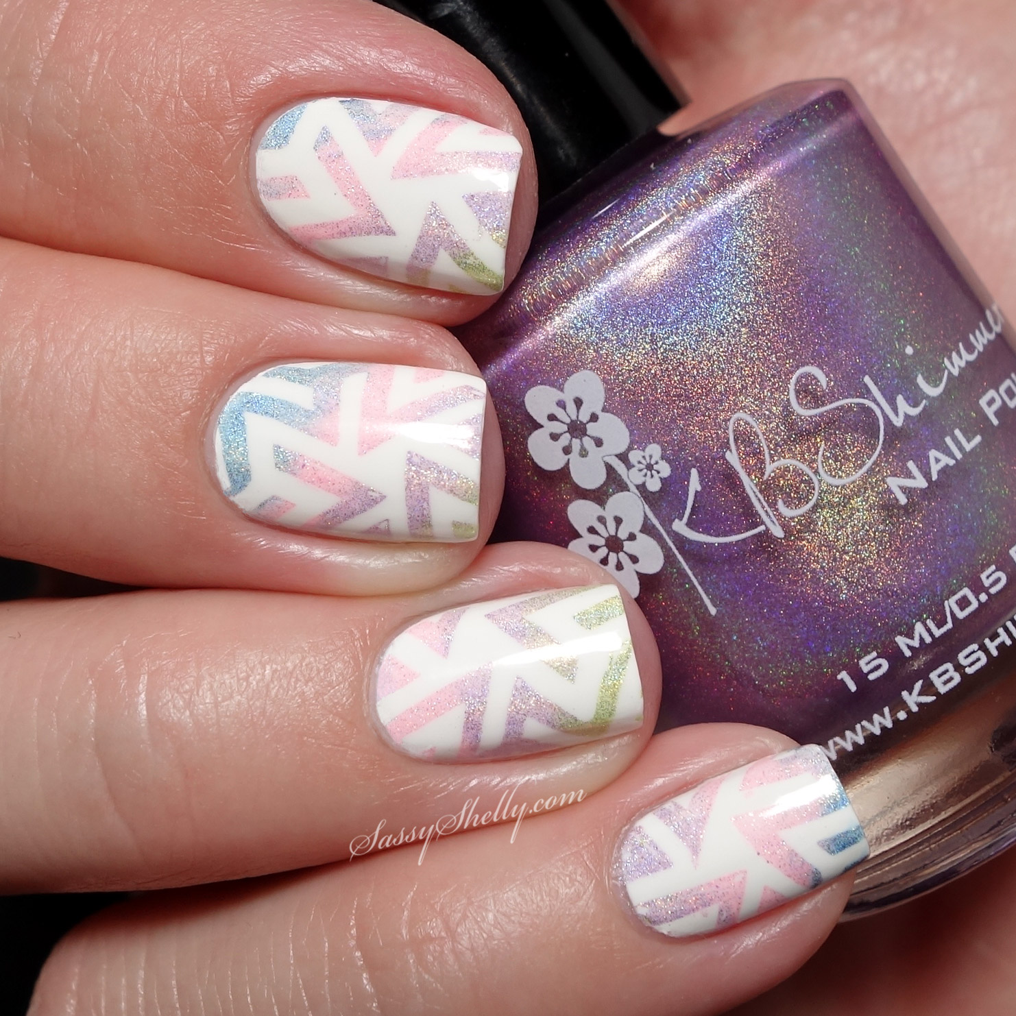 Geometric Gradient Stamping Nail Art with the KBShimmer Spring Collection  |  Sassy Shelly guest post for Kellie Gonzo