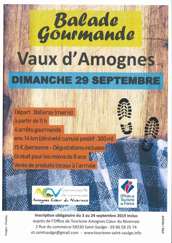 Balade gourmande Vaux d'Amognes dimanche 29 septembre à partir de 11 heures départ  Balleray