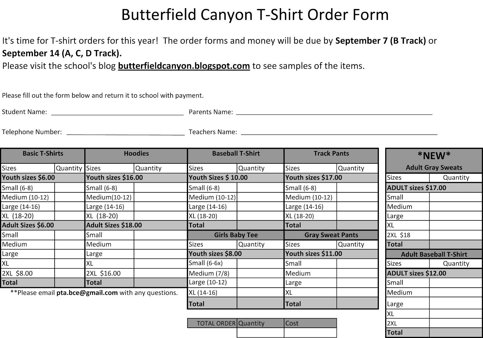 Clothing Order Forms