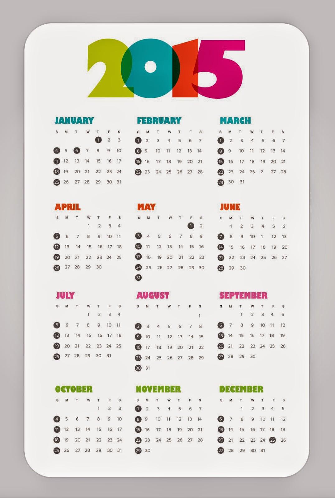 التقويم الهجري 1436, التقويم الميلادي 2015 ...