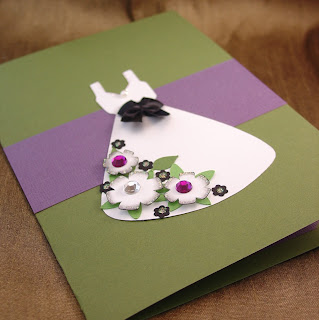 Green and purple wedding dress card by Vicky of Shore Debris