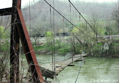 falling down suspension bridge, rusted, river, west virginia, kentucky