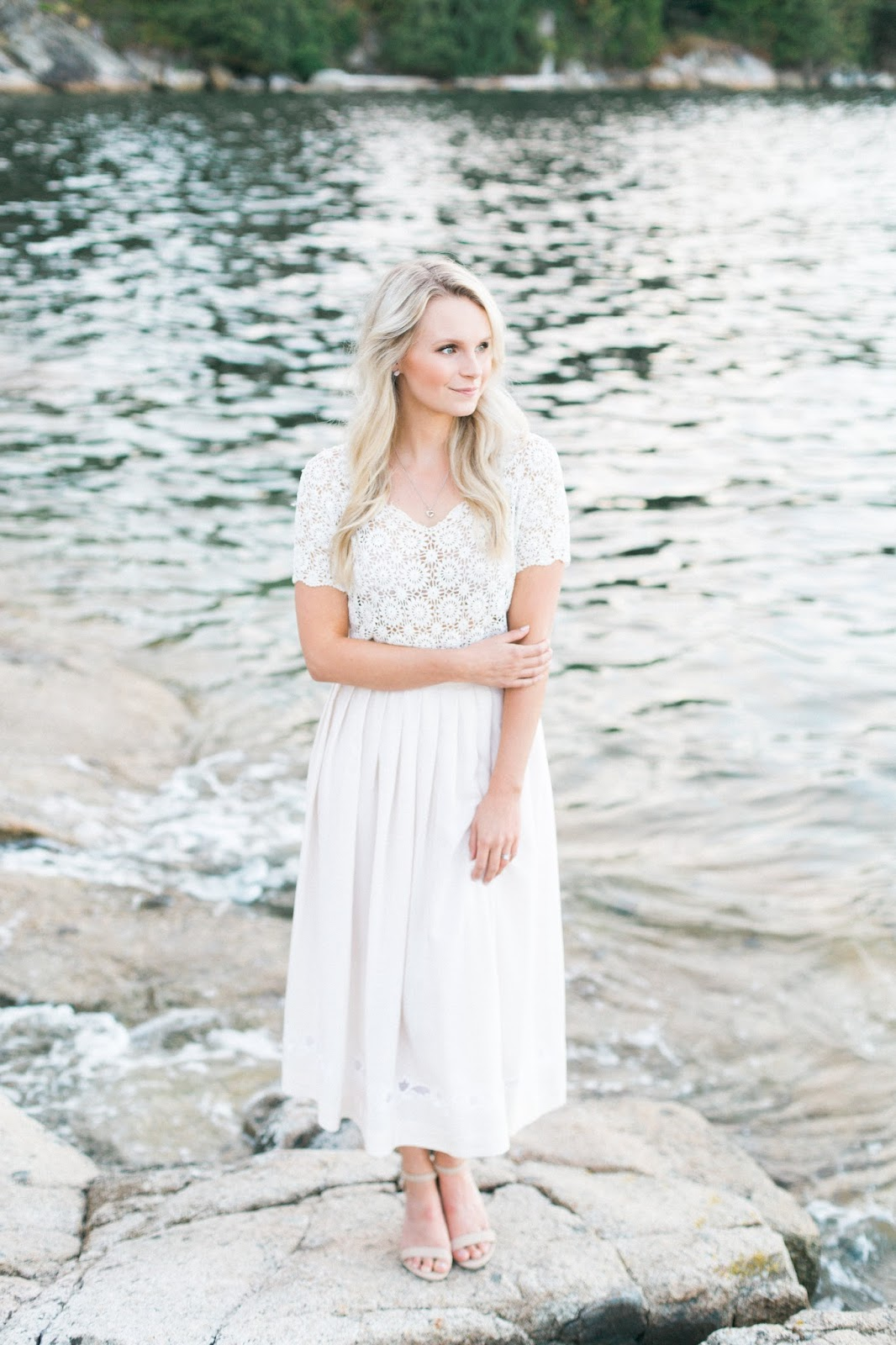 all ivory vintage lace dress for wedding photos in vancouver