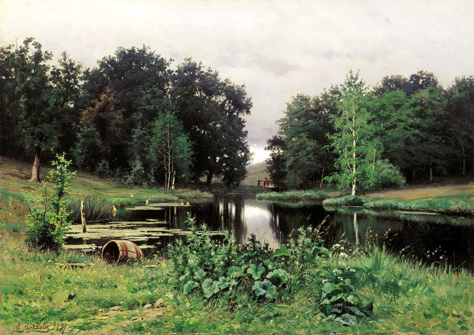 The glory of russian painting yefim volkov for Pond landscape