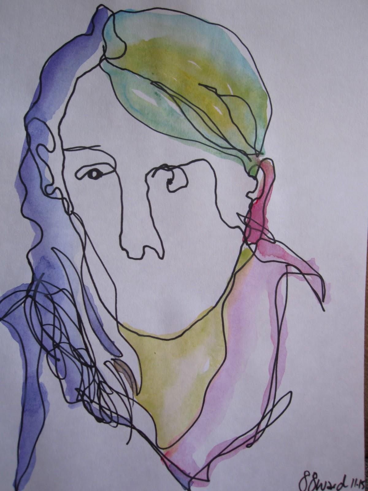 suzabelles art journal blind contour drawings