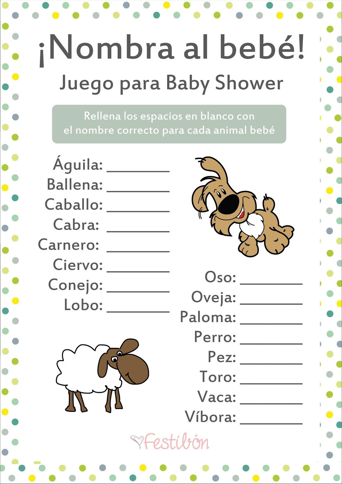 Nombra al animal bebé │ Juegos para baby shower para imprimir ...