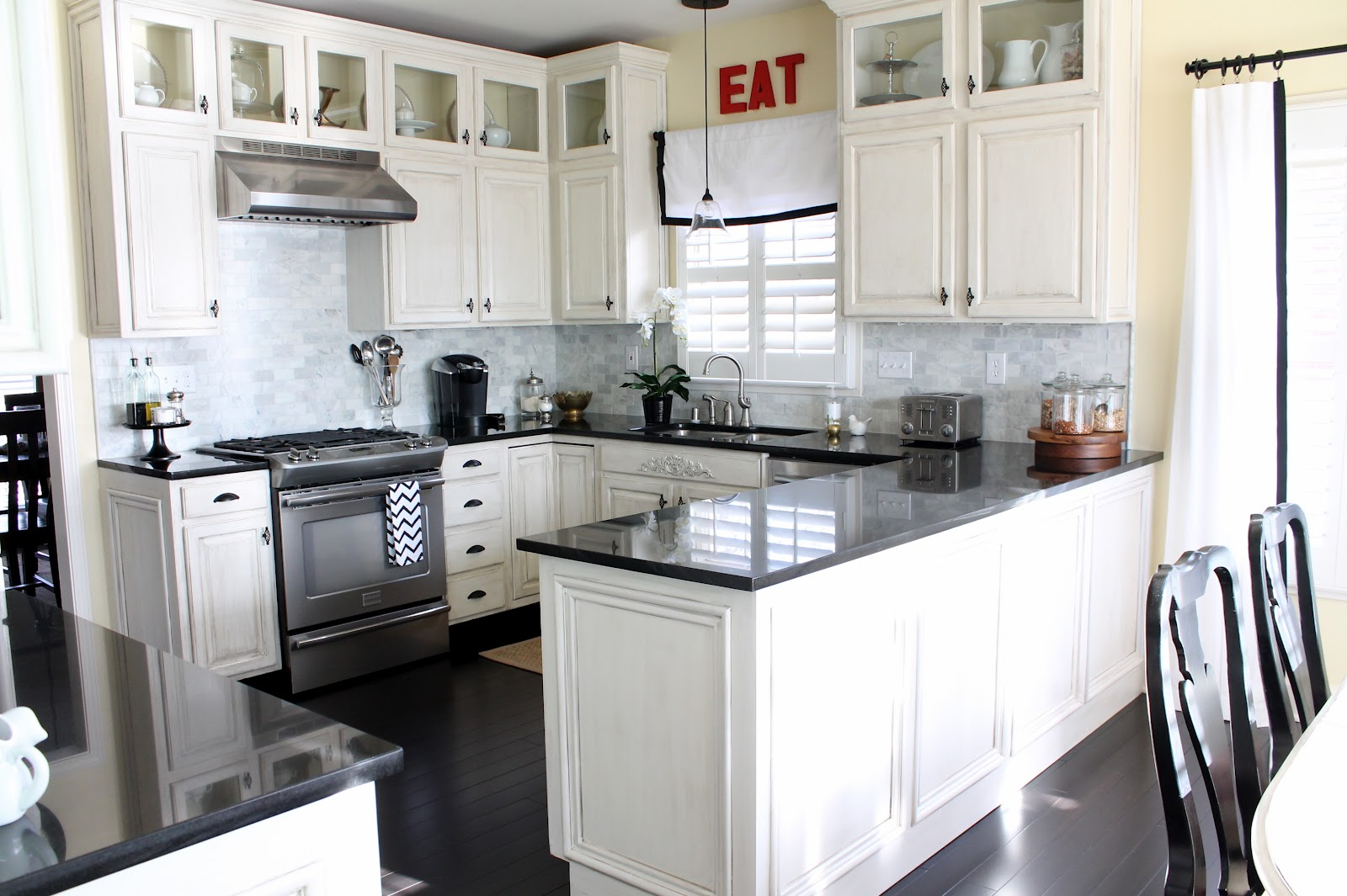 The appealing Glossy white subway tile backsplash kitchen image
