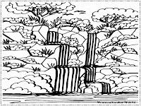 gambar mewarnai air terjun ditengah hutan rimba