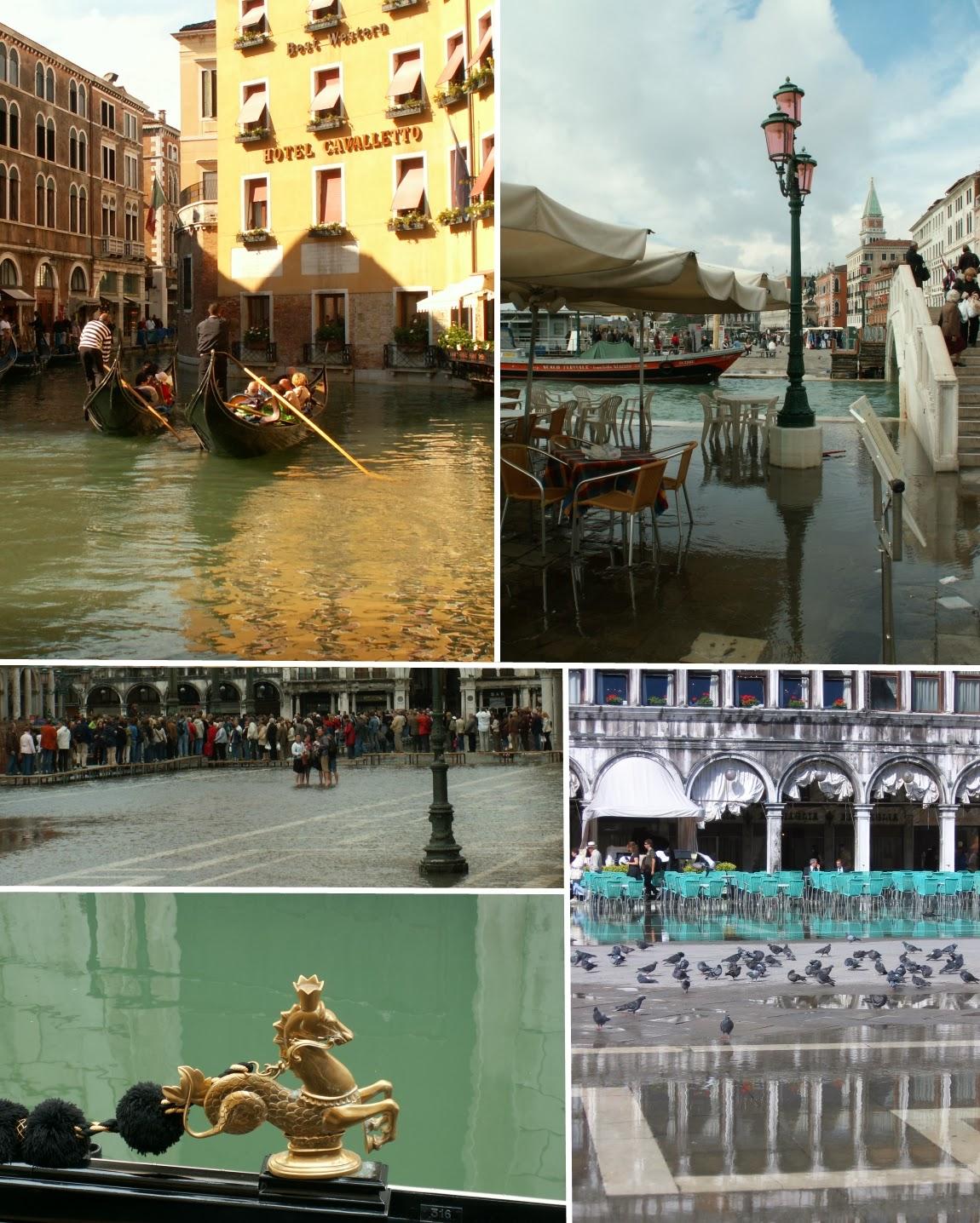 Venice Venezia flood gondola bank Plazza