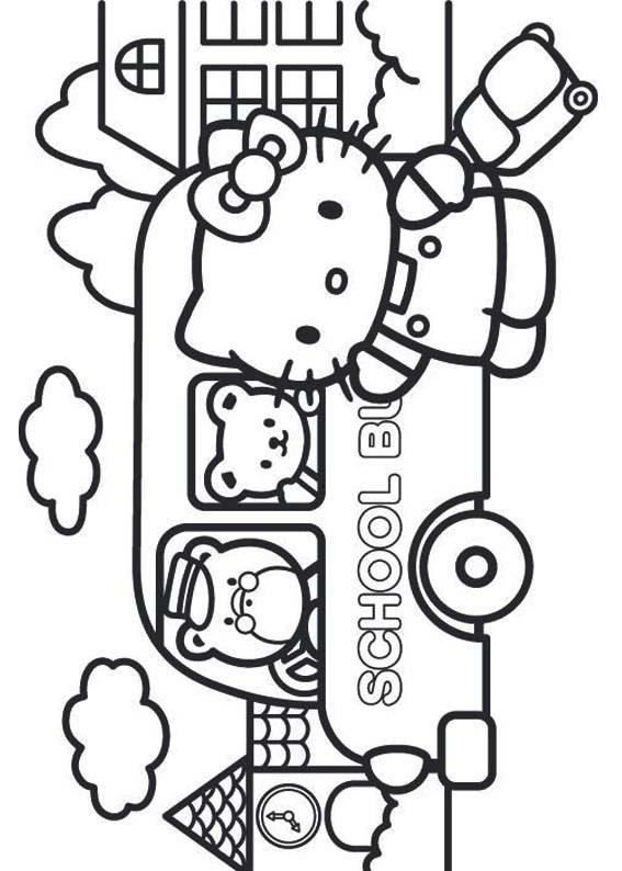 Desenhos Para Colorir Hello Kitty Na Escola