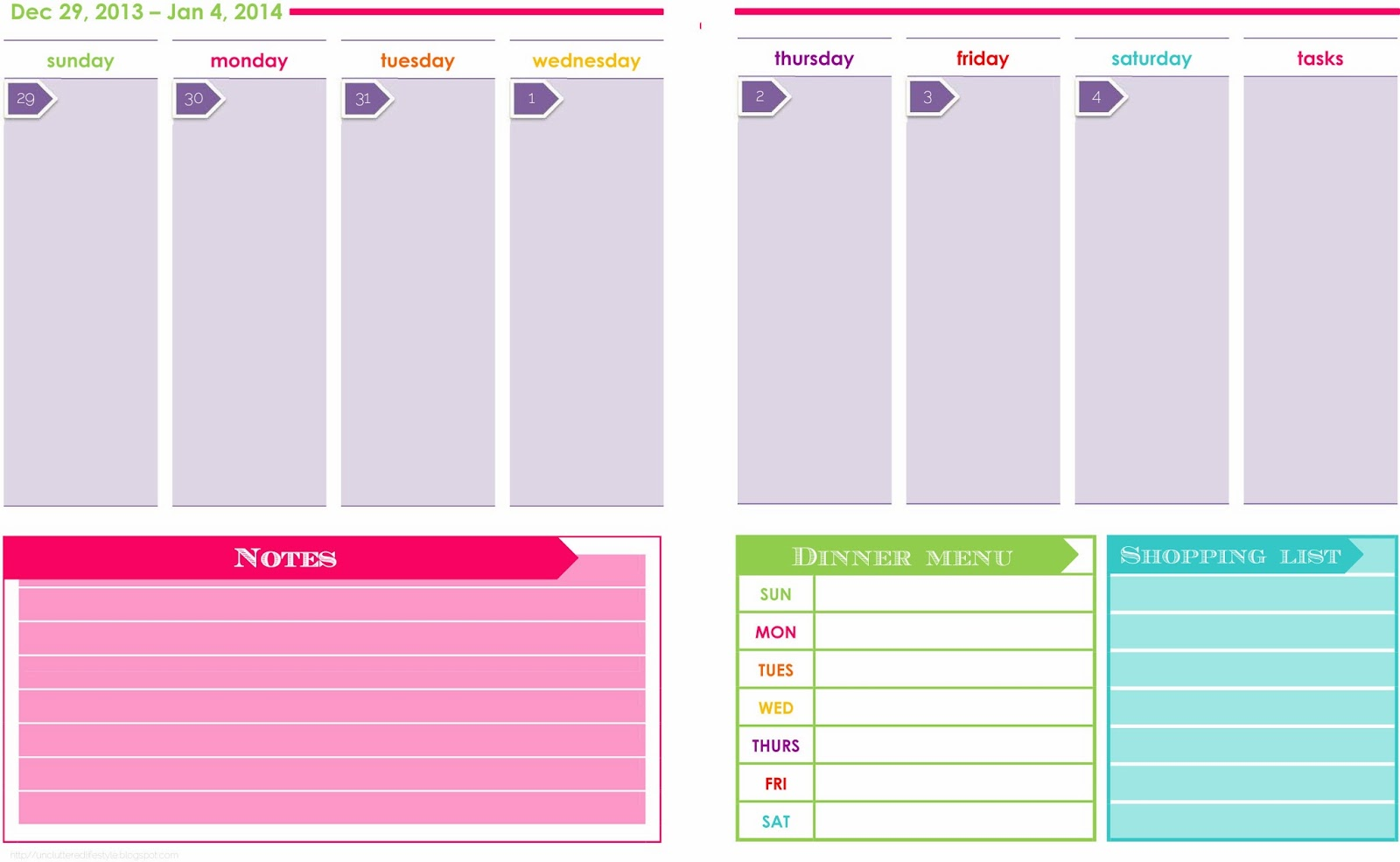 Printable Weekly Calendar 2014 The weekly planner and are