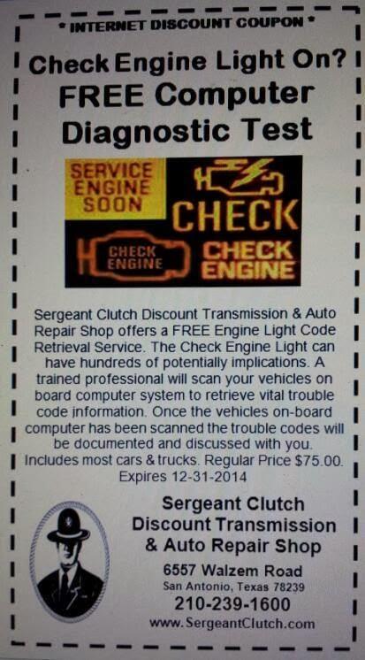 Free Check Engine Light Diagnostic Check Coupon