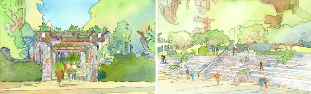 Lawrence Halprin's renderings of the entry trellis (left) and upper seating (right), 2003 Courtesy of the Stern Grove Festival Association