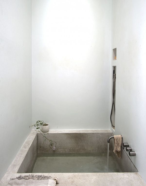 Modern country design inspiration | Concrete tub inspired by ancient Crete, designed by Michaela Scherrer, photo by Matthew Williams via Remodelista.