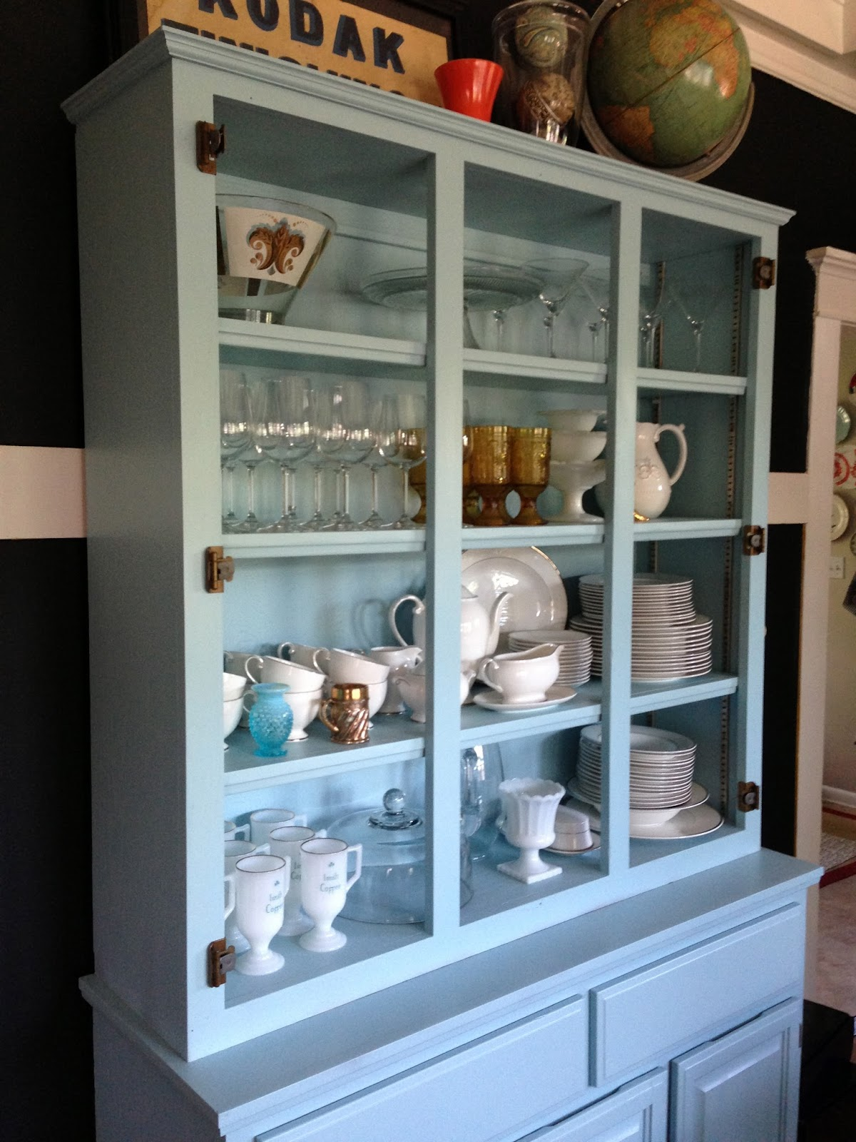 Furniture furthermore dining room china cabi ethan allen furniture on - Below Is A Shot Before We Put The Glass Doors On In Case You Wanted A Better Look At My China And Knick Knacks View Into Kitchen From Dining Room
