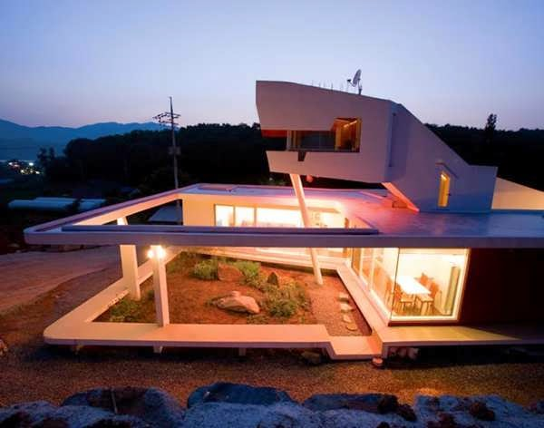 Geometric Zen House Design In South Korea Can Be Opened Or Concealed With Curtains Top 7 Unique House Design