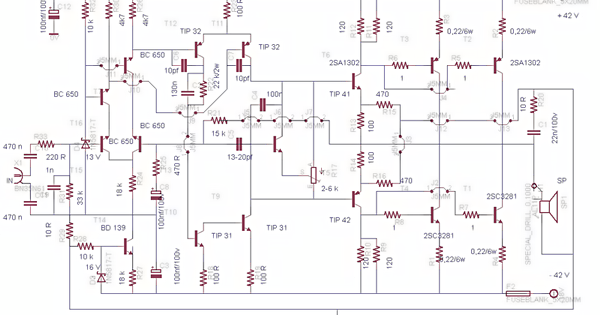 Wiring Panel  Simple 500w Audio Power Amplifier Circuit Diagram With Transistor